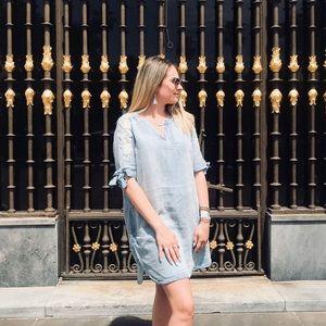 Francesca's Denim Embroidered Shift Dress